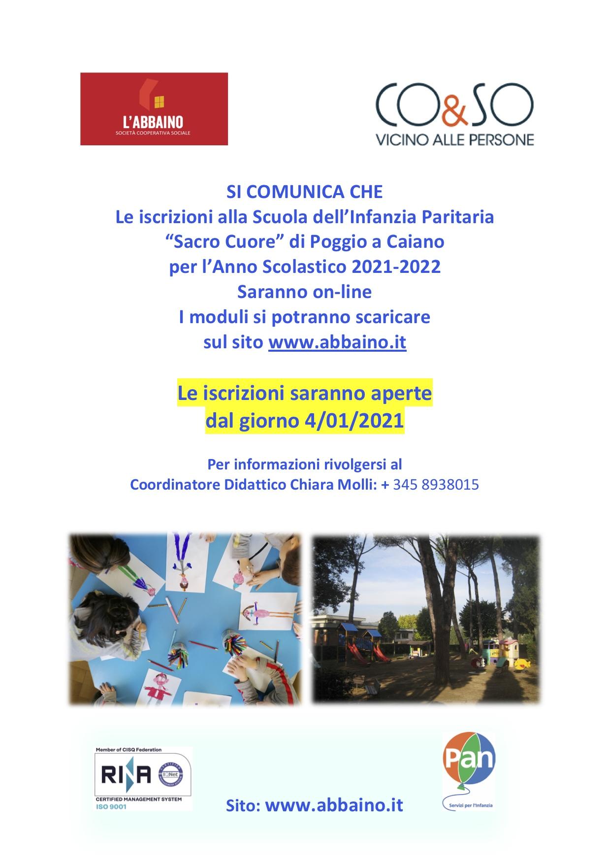 """Iscrizioni 2021/2022 alla Scuola dell'Infanzia Paritaria """"Sacro Cuore"""" di Poggio a Caiano"""