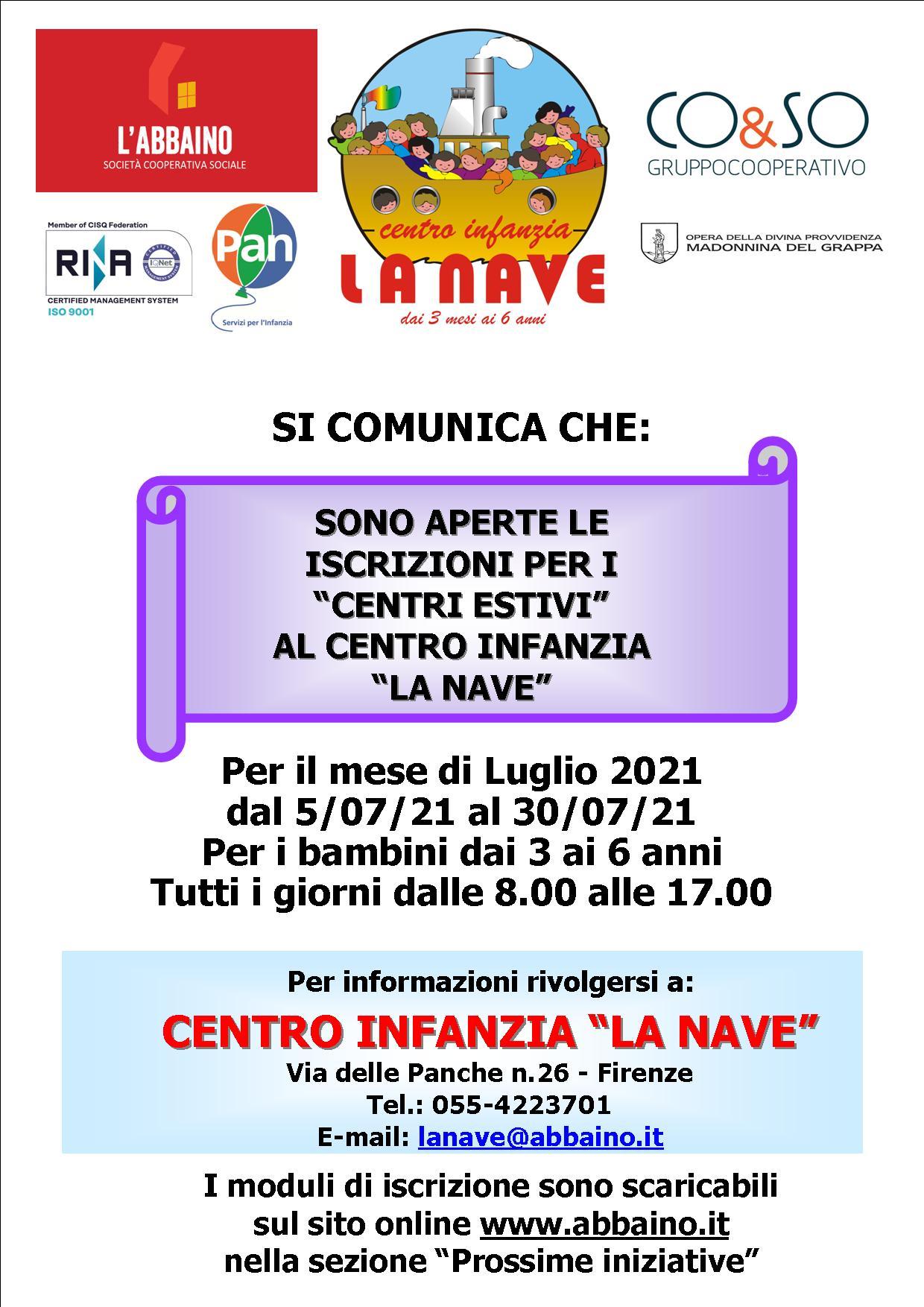 """Centri Estivi """"Centro Infanzia la Nave"""" 3 – 6 anni"""