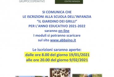 """Iscrizioni 2021/2022 alla Scuola dell'Infanzia """"Il Giardino dei Grilli"""""""