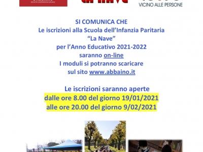 """Iscrizioni 2021/2022 alla Scuola dell'Infanzia Paritaria """"La Nave"""""""