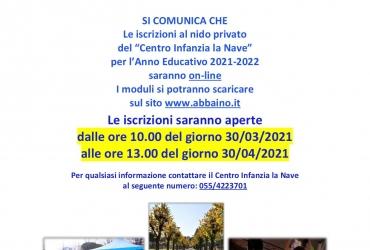 """Iscrizioni 2021/2022 al Nido Privato del """"Centro Infanzia La Nave"""""""